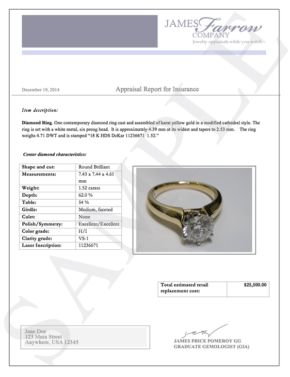 Sample diamond and jewelry appraisals | James Farrow Company ...
