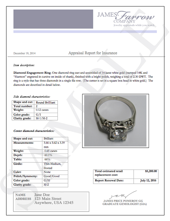 Sample diamond and jewelry appraisals